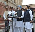 Manmohan Singh interacting with the media on his arrival at Parliament House to attend the Winter Session of Fifteenth Lok Sabha, in New Delhi. The Union Minister for Urban Development & Parliamentary Affairs.jpg