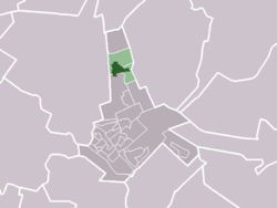 The village of Den Dolder (darkgreen) and the neighbourhood of Den Dolder (lightgreen) in the municipality of Zeist.
