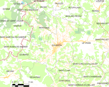 Map of the commune of Gourdon