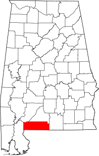 Map of Алабама highlighting Escambia County