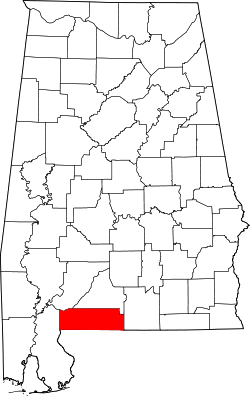 map of Alabama highlighting Escambia County