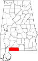 Map of Alabama highlighting Escambia County.svg