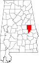 Map of Alabama highlighting Tallapoosa County.svg