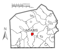 Map showing Gettysburg in Adams County