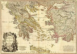 Map of Greece, drawn in 1791 by William Faden, at the scale of 1,350,000