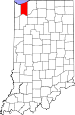 Map of Indiana highlighting Porter County.svg