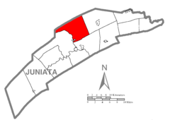 Map of Juniata County, Pennsylvania Highlighting Fermanagh Township.PNG