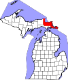 State map highlighting Chippewa County