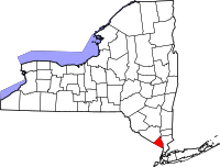 Map of New York highlighting Rockland County
