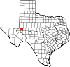 State map highlighting Ector County