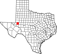 Map of Texas highlighting Ector County
