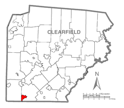 Map showing Westover in Clearfield County