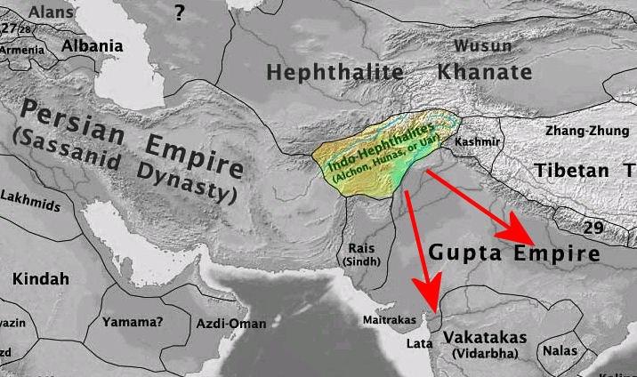 Alchon territories and campaigns into Gujarat and Madhya Pradesh, c. 500 CE.