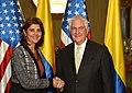 María Ángela Holguín with Rex Tillerson in Colombia - 2018 (25254231817).jpg