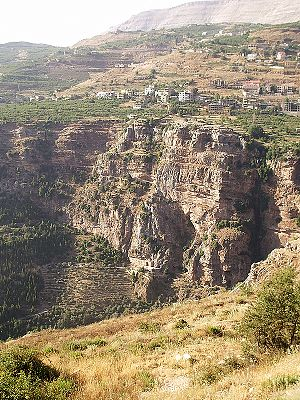 Kadisha Valley - The monastery of Mar Elisha is perched on the cliff.