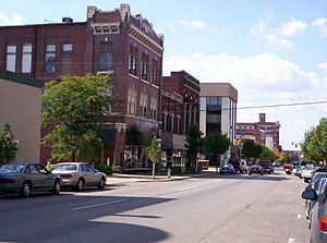 This photograph of downtown Marion, Ohio on We...