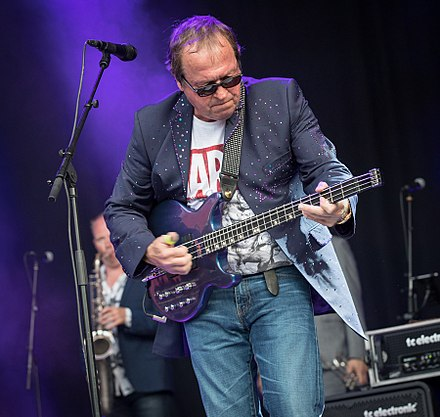 Mark King of Level 42 using the slapping technique in a concert in 2017 Mark King Kongsberg Jazzfestival 2017 (214451).jpg