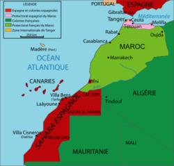 Le Sahara espagnol et le protectorat espagnol sur le Maroc en 1912
