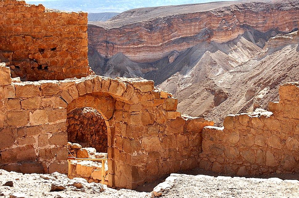 Masada ruins with valley