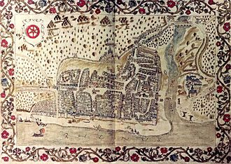 Bingen am Rhein - Gottfried Mascop: town map from 1577