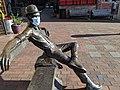 Masked sculpture at Fairhaven Village Green 2020 welcomes me back to Bellingham. (50308992081).jpg