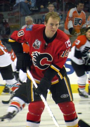 Calgary Flames forward Matt Stajan prior to a ...