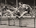 Maureen Gardner wins heat two of Women's 80m Hurdles, Olympic Games, London, 1948. (7649948668).jpg