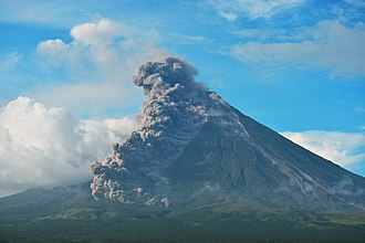 Lateral eruption - Mayon Volcano undergoing a lateral eruption