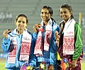 Mayookha Jhony (INDIA) won Gold Medal, Shrdha Ghule Bhaskar (INDIA) won Silver Medal and SLS Silva (SRI LANKA) won Bronze Medal, in women's Long Jump, at the 12th South Asian Games-2016, in Guwahati on February 09, 2016.jpg