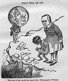 1898 political cartoon showing U.S. President McKinley with a native