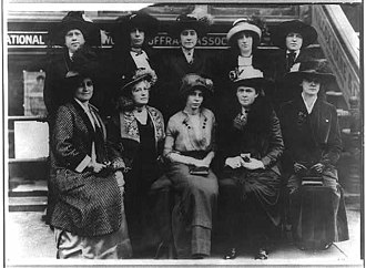 Woman suffrage parade of 1913 - Members of the Congressional Committee of the NAWSA. Back row, second from left is Nina Allender; second from right is Hazel MacKaye; far right Elsie Hill. Front row (L to R): Glenna Tinnin, Helen Gardener, Alice Paul, Elizabeth Kent, and Genevieve Stone.