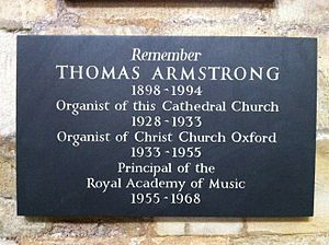 Thomas Armstrong (musician) - Memorial in Exeter Cathedral
