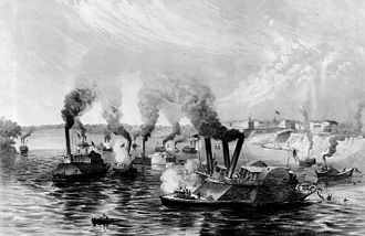 First Battle of Memphis - The Total Annihilation of the Rebel Fleet by the Federal Fleet under Commodore Davis. On the Morning of June 6, 1862, off Memphis, Tenn. CSS General Beauregard (center foreground) is being rammed by the federal ram Monarch. At left are the disabled federal ram Queen of the West and the Confederate ships General Sterling Price and Little Rebel.