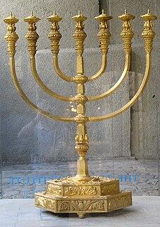 Menorah (Temple) seven-branched candelabrum, Jewish symbol