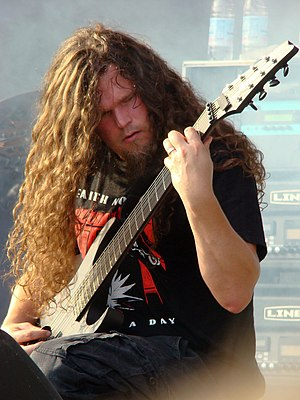Meshuggah - Rhythm guitarist Mårten Hagström with a custom built Ibanez eight-string guitar