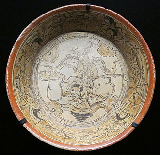 Mexican art - Painted ceramic plate from Calakmul, 600 to 800 AD.