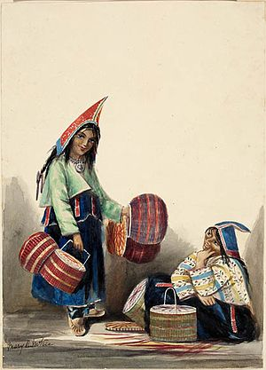 Mi'kmaq - Mi'Kmaq Women Selling Baskets, Halifax, Nova Scotia, by Mary R. McKie c. 1845