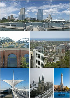 Clockwise from top: Milwaukee skyline from Lakeshore State Park, East Side neighborhood with University of Wisconsin - Milwaukee in the distance, North Point Water Tower, Gesu Church and Marquette University, Milwaukee Art Museum, and Miller Park