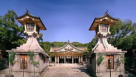 Minatogawa Jinja(the front of the main shrine).jpg