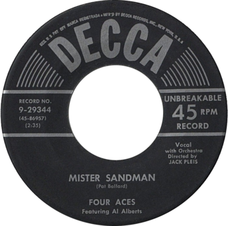 Mr. Sandman - U.S. vinyl single of The Four Aces recording
