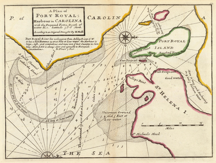 Herman Moll: A Plan of Port Royal-Harbour in Carolina, 1736
