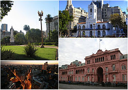 Clockwise from top: the Plaza de Mayo, the Cabildo, Diagonal Sur and Casa Rosada.