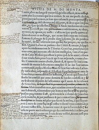 Essays (Montaigne) - Image: Montaigne Essais Manuscript