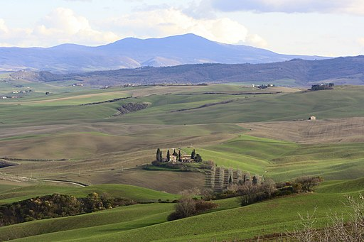 Panorama of the Val d'Orcia, in the background Monte Cetona, Province of Siena