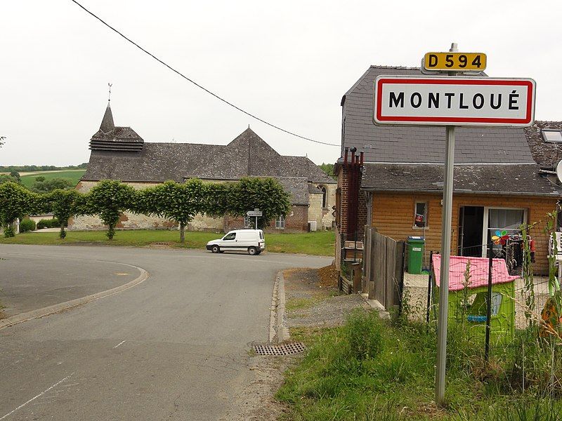 Montloué (Aisne) city limit sign