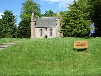 "Scone, Scotland - ""Moot hill"" and its chapel today"
