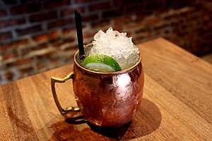 2010s in food - A moscow mule – an example of the savory drink trend.