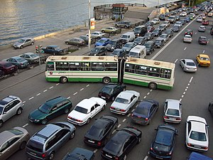 Traffic congestion - Congestion on a city road in Moscow