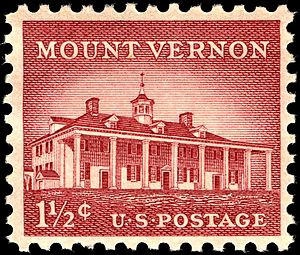 US Postage stamp: Mt. Vernon, 1956 issue, 1-1/...