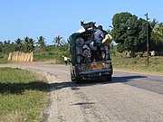 Typical overloaded truck in Mozambique